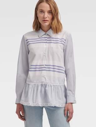 DKNY Striped Button-Up With Lace Hem