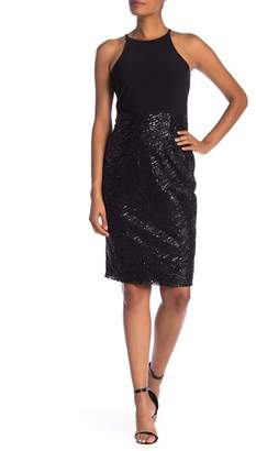 Marina Sequin Accent Halter Dress