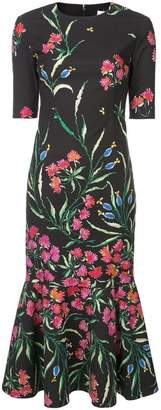 Carolina Herrera floral embellished trumpet dress