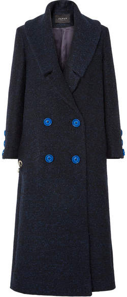 Rainbow Double-breasted Brushed Drill Coat - Midnight blue