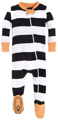 Burt's Bees Halloween Rugby Stripe Baby Organic Zip Up Footed Pajamas