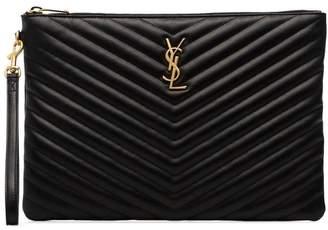 Saint Laurent black quilted leather clutch bag