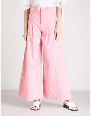 Paper London Solo wide-leg cotton-blend trousers