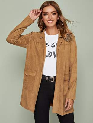 Shein Notch Collar Flap Pocket Front Split Side Suede Coat