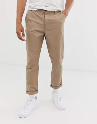 Asos DESIGN Tapered Chinos in Stone