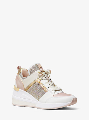 Michael Kors Georgie Leather And Chain-Mesh Trainer
