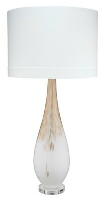 Jamie Young Company Dewdrop Table Lamp in Gold Ombre Glass with Classic Drum Shade in White Silk Company