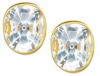 Kenneth Jay Lane Faceted Crystal Headlight Clip Earrings