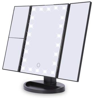 Qiilu 22 LED Cosmetic Mirror, 180 Rotation Portable Desktop Vanity Mirror, 3 Panel 2X/3X/1X Magnification Mirror, 22 Dimmable LED Bulbs, 3 Magnification Modes, Dual Power Supply Mirror