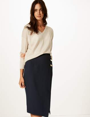 Marks and Spencer Button Detail Pencil Skirt