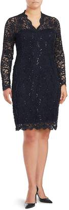 Marina Women's Sequin Embroidered Lace Sheath