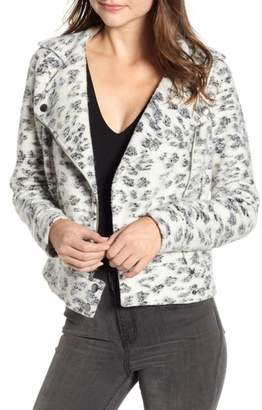 Cupcakes And Cashmere Leopard Fleece Moto Jacket