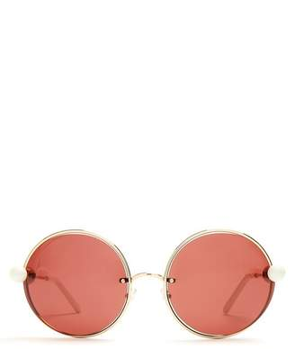 Marni - Round Lens Bead Arm Sunglasses - Womens - Gold