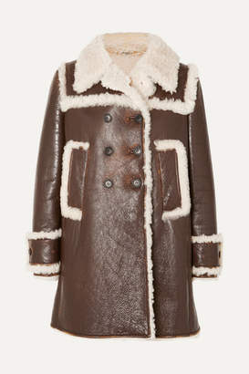 Miu Miu Shearling-trimmed Textured-leather Coat - Brown