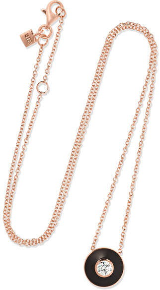 Selim Mouzannar - Mina 18-karat Rose Gold, Enamel And Diamond Necklace