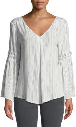 philosophy Laced-Detail Striped V-Neck Blouse