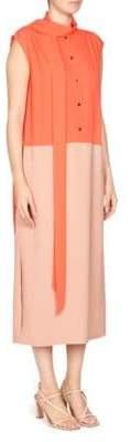 Dries Van Noten Colorblock Sleeveless Scarf Dress