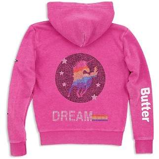 Butter Shoes Girls' Embellished Unicorn Fleece Hoodie - Little Kid, Big Kid