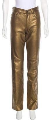 Ralph Lauren Purple Label Leather Mid-Rise Pants