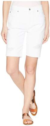 7 For All Mankind High-Waist Straight Bermuda Shorts in White Fashion 4 Women's Shorts
