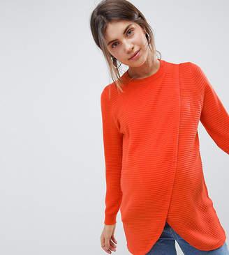 Asos Nursing DESIGN Maternity Nursing eco wrap sweater in ripple stitch