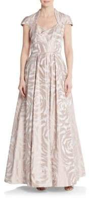 Theia Rose-Print A-Line Gown
