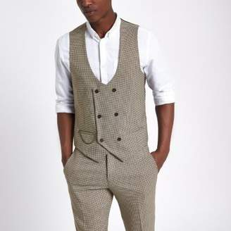 River Island Brown dogstooth check vest