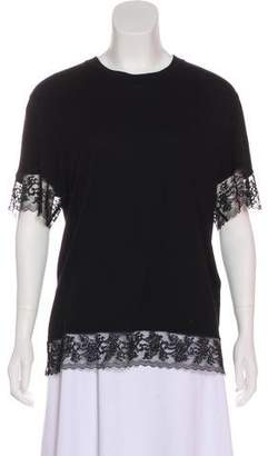 Givenchy Lace-Trimmed Short Sleeve Top