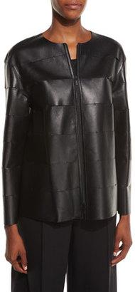 Lafayette 148 New York Murphy Zip-Front Leather Jacket, Black $1,148 thestylecure.com