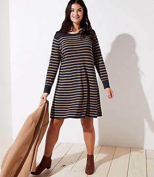LOFT Plus Striped Swing Sweater Dress