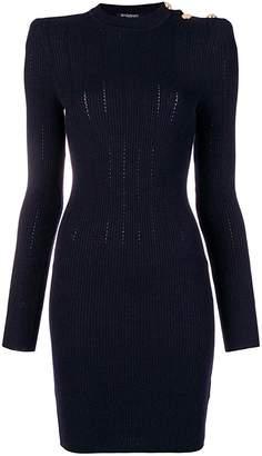 Balmain Buttoned Rib-knit Wool-blend Mini Dress