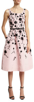 Oscar de la Renta Sleeveless Floral Fit-&-Flare Midi Dress, Peony/Black $6,490 thestylecure.com