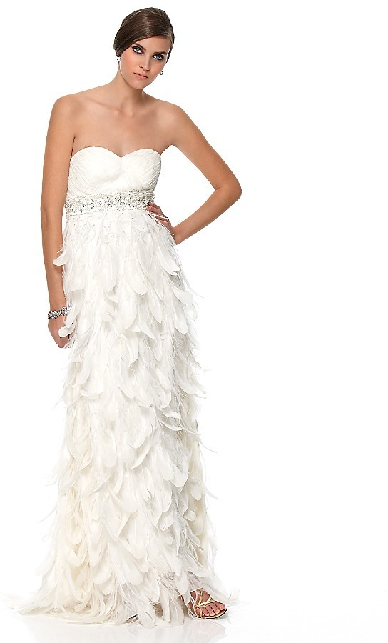 Sue Wong Long Strapless Feather Gown