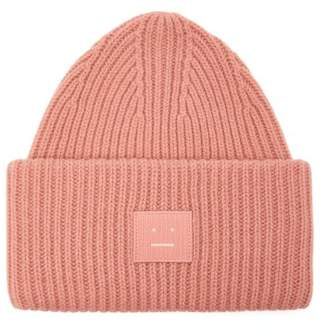 Acne Studios Pansy S Face Ribbed Knit Beanie Hat - Mens - Pink