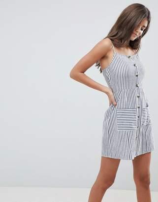 Asos DESIGN stripe button through linen mini sundress