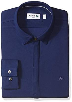 Lacoste Men's Long Sleeve Button Down Textured Jersey Slim Fit