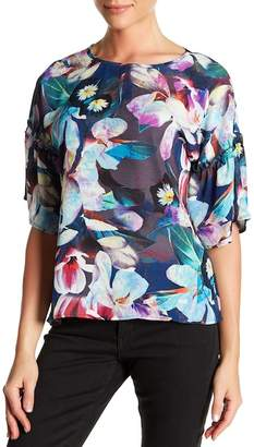 Spense Printed Ruffle Sleeve Blouse