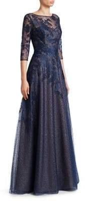 Rene Ruiz Metallic Lace Illusion Gown