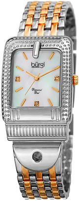Burgi Women's Two-Tone Diamond Marker Buckle Watch
