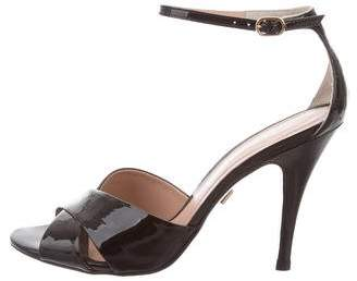 Pour La Victoire Patent Leather Ankle-Strap Sandals