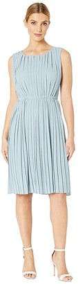 Maggy London Silk Georgette Pleated Fit and Flare
