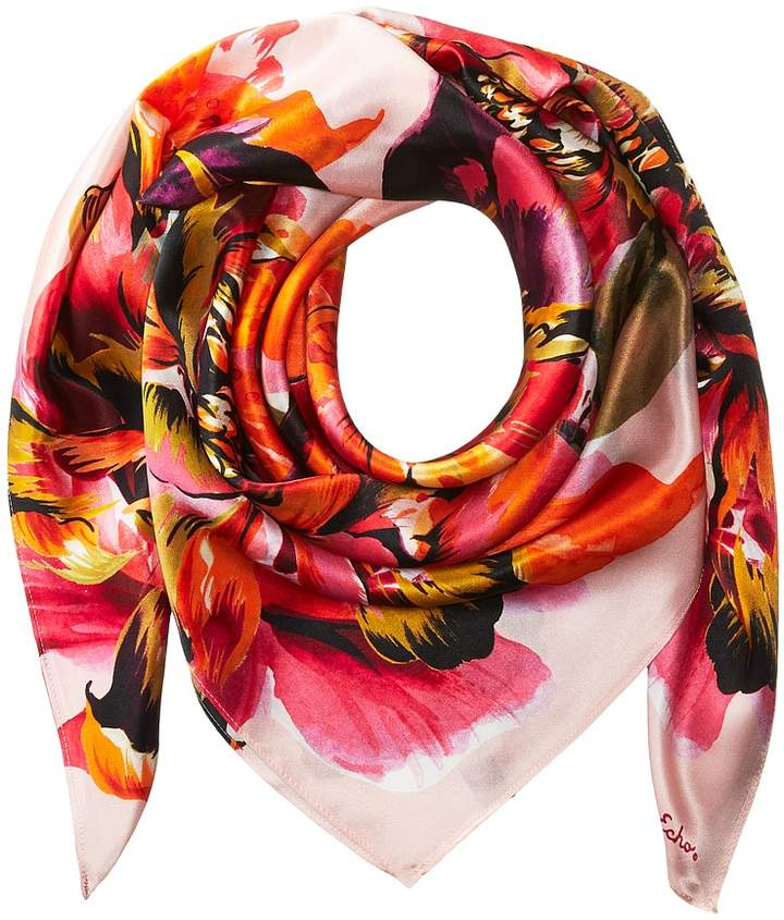 Echo Design - Abstract Floral Silk Square Scarf Scarves