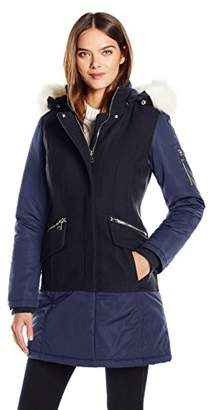 1 Madison Women's Wool Melton Mixed Media Winter Coat