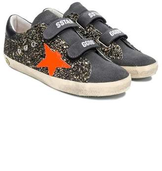Golden Goose Kids Superstar glitter touch strap sneakers