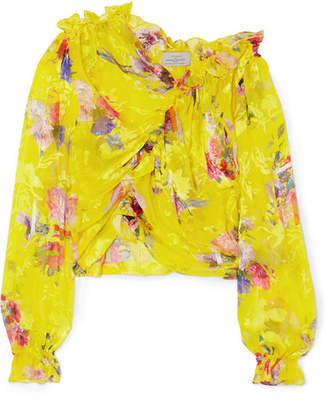 Preen by Thornton Bregazzi Shelly Ruched Devoré Silk-blend Chiffon Top - Bright yellow
