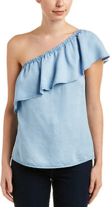 7 For All Mankind Seven 7 One-Shoulder Ruffle Top