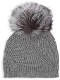 Saks Fifth Avenue Fox Fur Pom-Pom Cashmere Ribbed Beanie