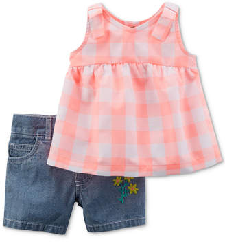Carter's 2-Pc. Checkered Tunic & Denim Shorts Set, Baby Girls