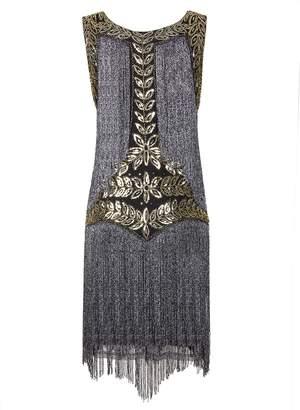 Vijiv Women's Flapper Dresses 1920s Gatsby Full Fringed Vintage Cocktail Dress, M