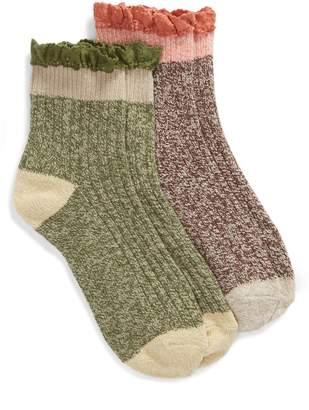 BP 2-Pack Lace Cuff Marled Ankle Socks